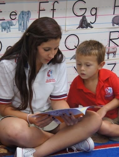 Teacher & Student Reading at Grandview Prep Boca